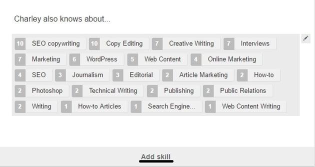 LinkedIn skills section