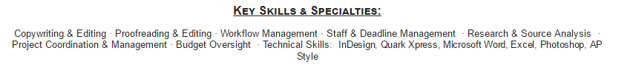 Example of listing hard skills on your resume