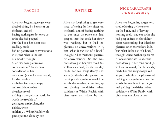 Comparison of ragged and justified paragraphs