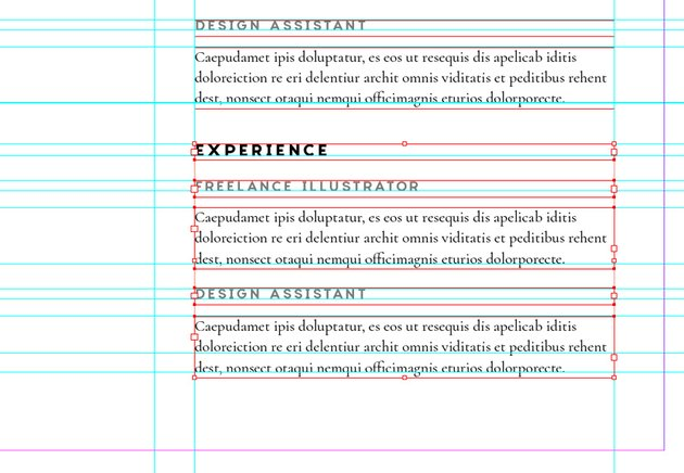 pasted text frames