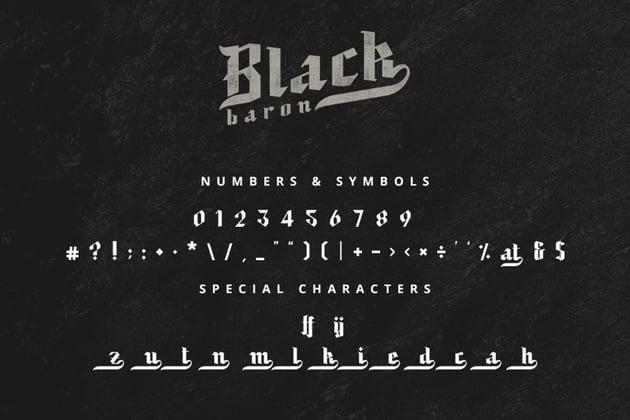 black baron gothic typeface