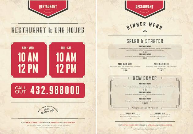 vintage menu template