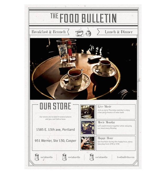 bulletin menu