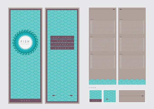 patterned menu
