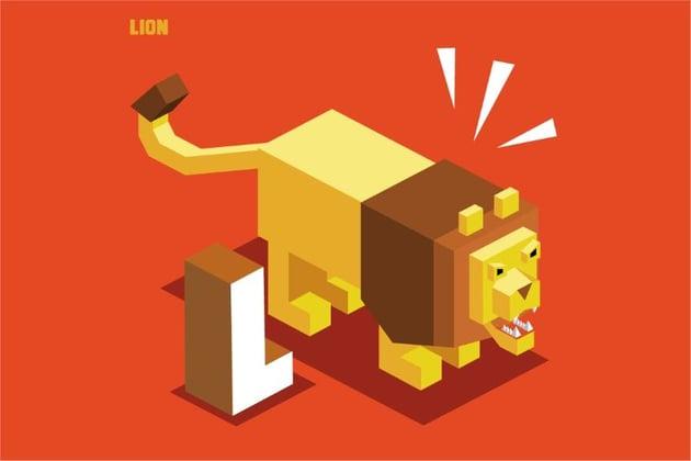 lego lion letter