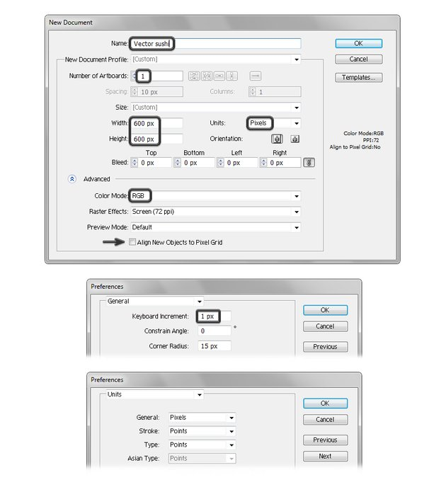 create new vector sushi document in illustrator