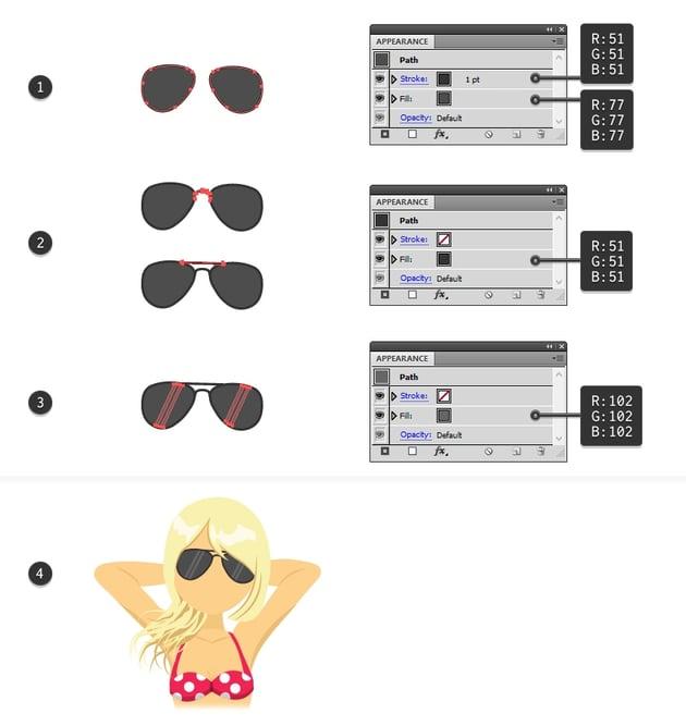 draw the vector sunglasses