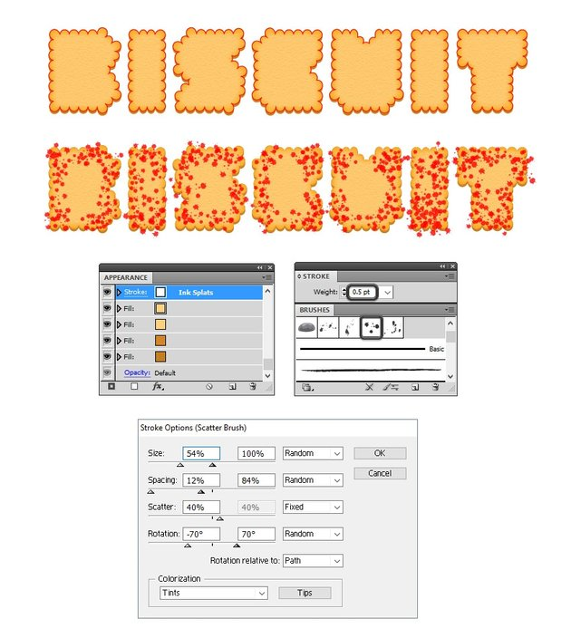 add white splats for texture on biscuit