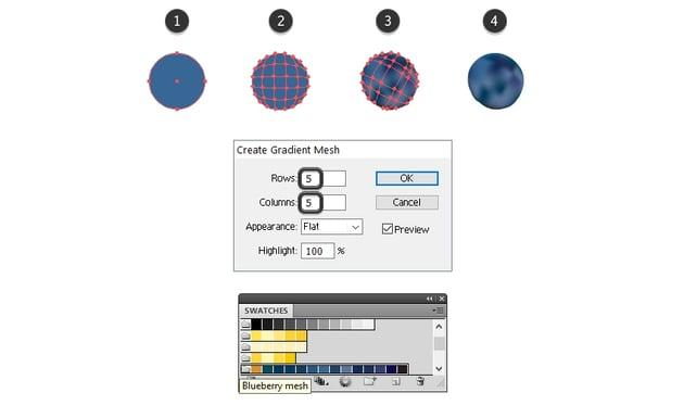 create the blueberry shape