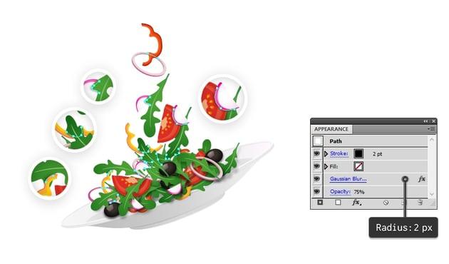 create shadow between salad ingredients
