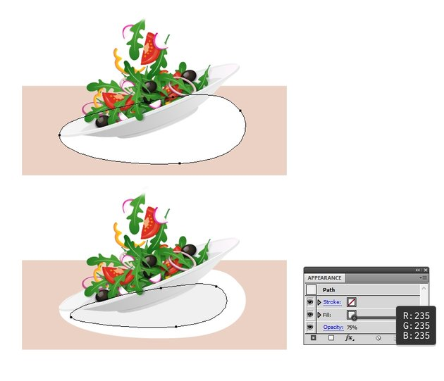 draw first two shadow shapes under the plate