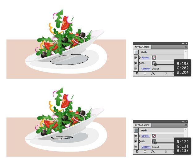 draw last two shadow shapes under the plate