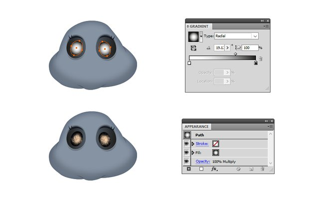 how to add shading around bats eyes