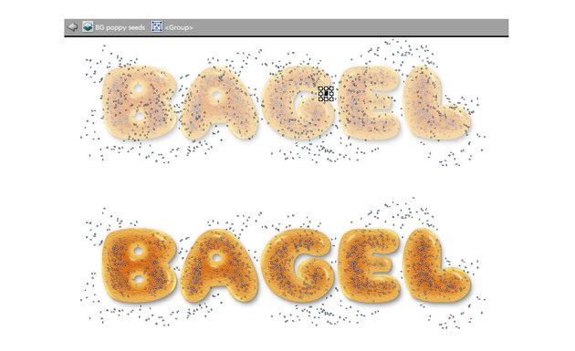 how to clean up extra poppy seeds around bagel letters