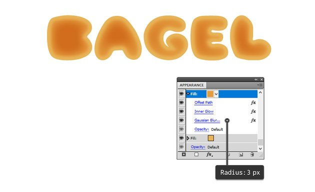 how to apply blur to bagel letters