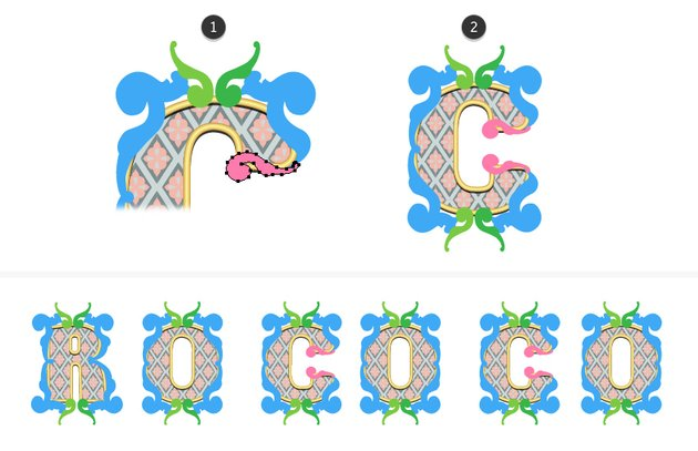 how to arrange the small acanthus leaves on letter C