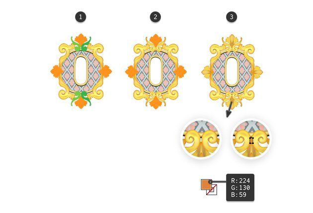 how to arrange the decorations back on the letter O