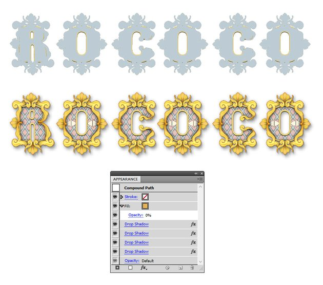 how to create the shadow around Rococo letters