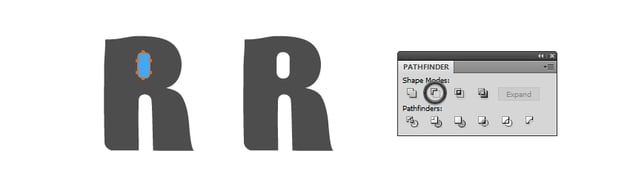 how to draw the hole for letter R