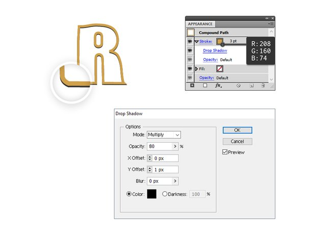 how to create a golden border for letter R
