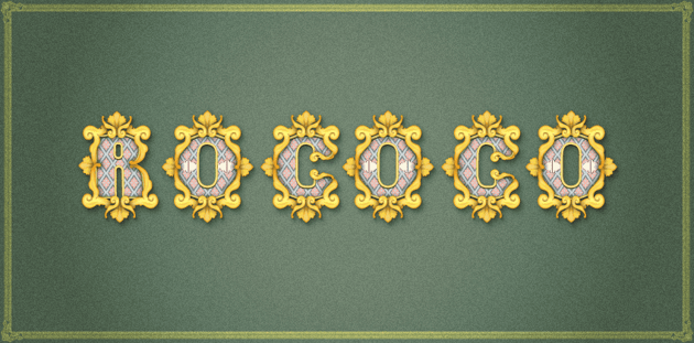 Rococo inspired text effect final image