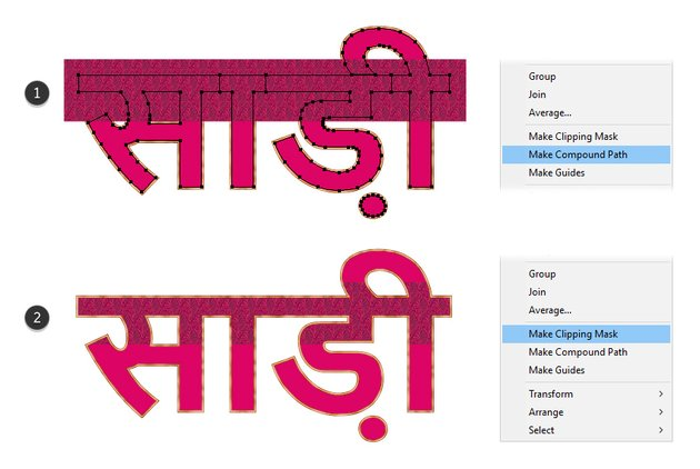 how to mask the pattern rectangle on sari text