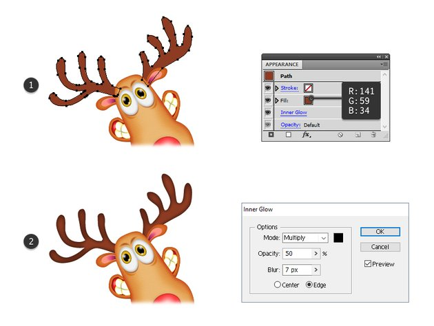 how to color the reindeers horns