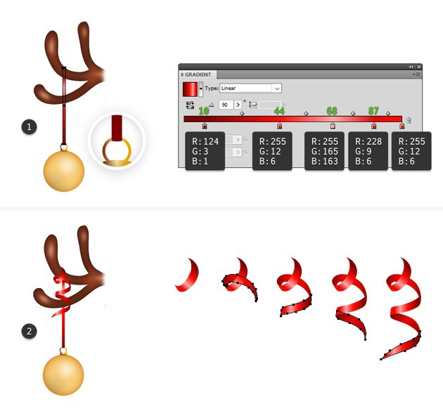 how to hang the bauble and add ribbon curls in reindeers horns