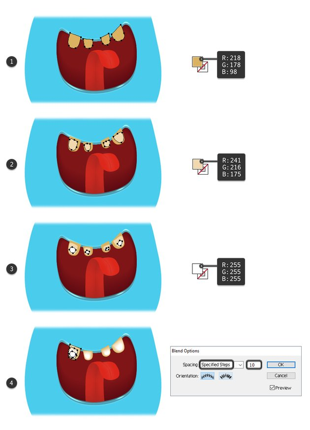 how to create the top teeth of the monster
