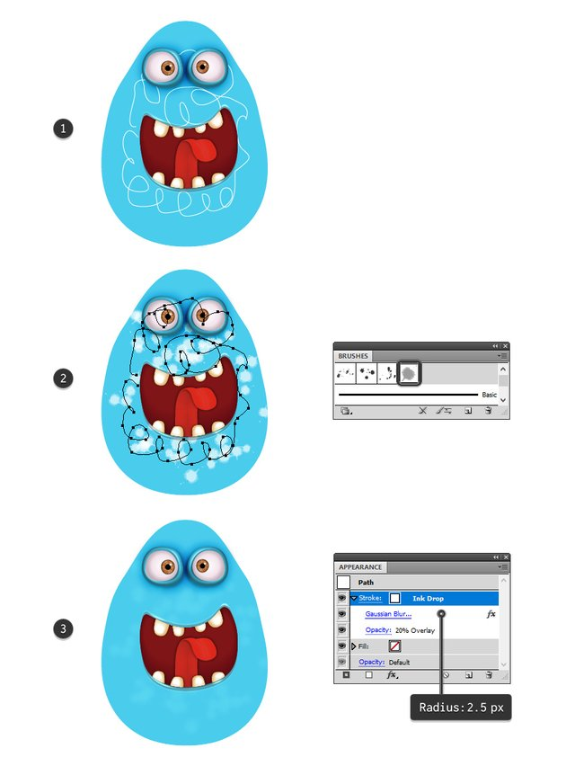 how to add light spots on the monsters body