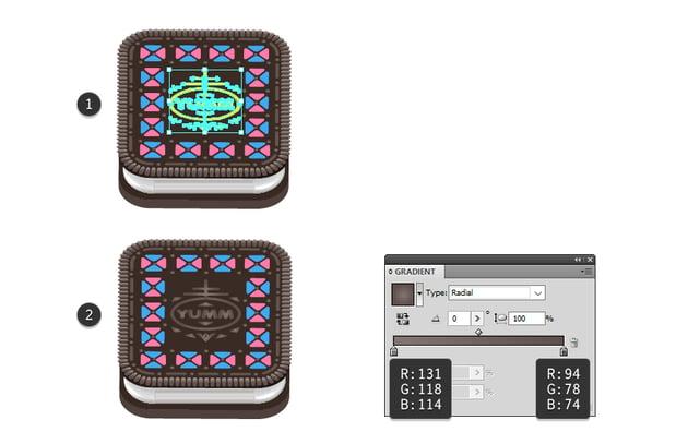 how to recolor Oreo text logo