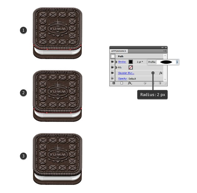 how to create shadow between top biscuit and Oreo cream