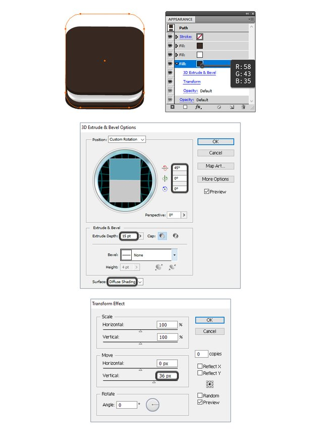 how to create the base Oreo biscuit with 3D effect