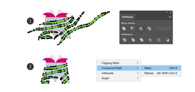how to create the pink striped fur compound path for letter M