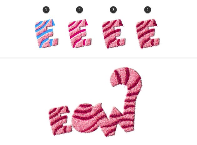 how to create fur on letter E O and W