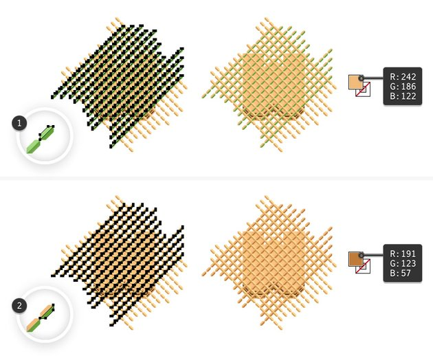 how to recolor entire wafer pattern on letter W