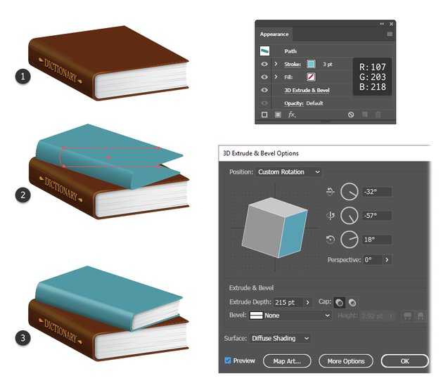 how to create a blue 3D book