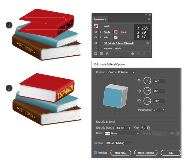 how to create a red 3D book