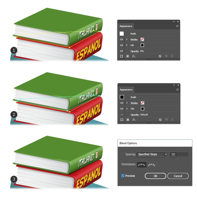 how to create shadow between books