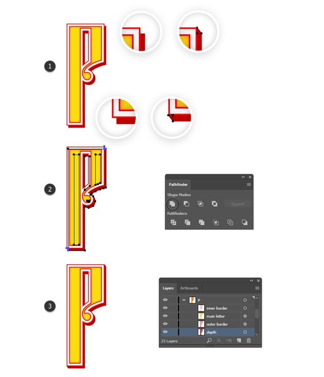 how to fix the corners of Russian vector letter