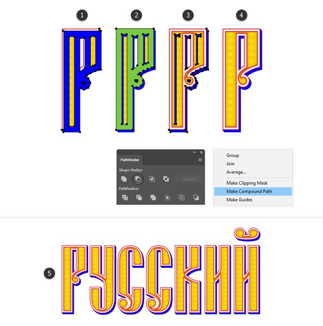 how to create a mask shape for Russian vector letter