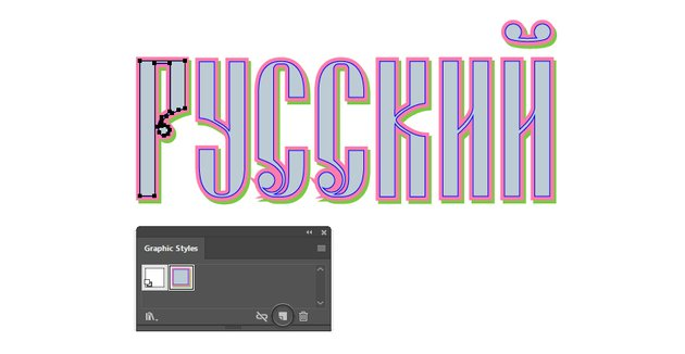 how to save the graphic style for Russian vector text