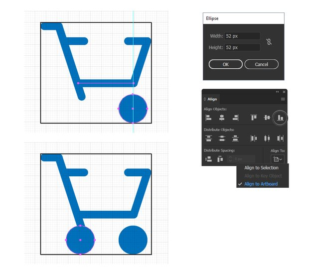 how to create the wheels of the cart minimal icon