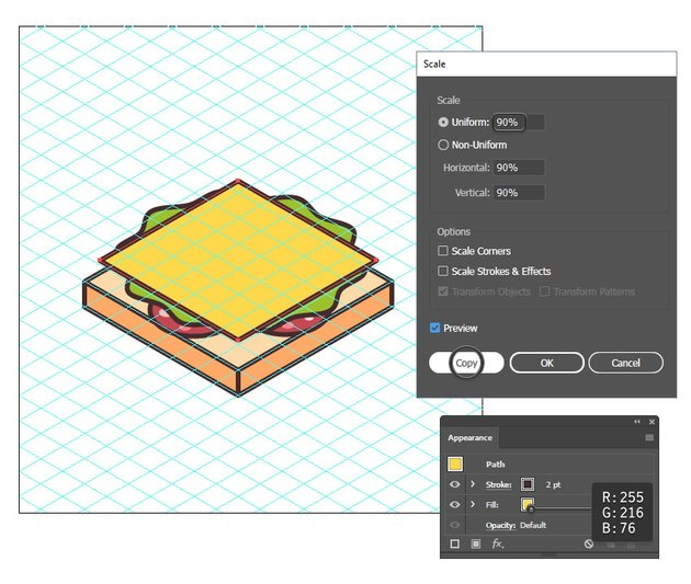 how to create the cheese slice of the sandwich icon