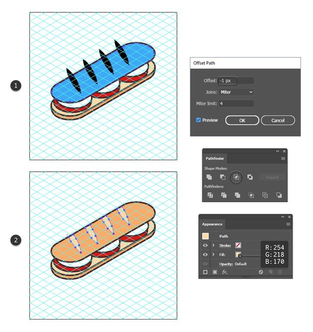 how to create slashes on the sandwich icon