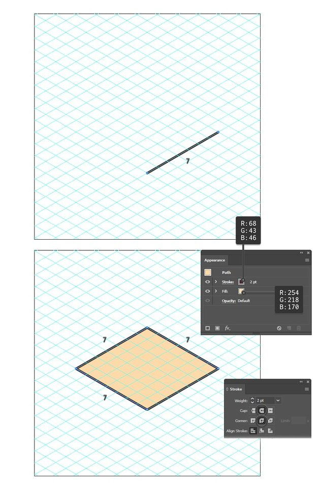 how to draw an isometric square using the grid