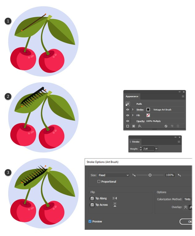 how to create texture on a leaf with Illustrator texture brushes