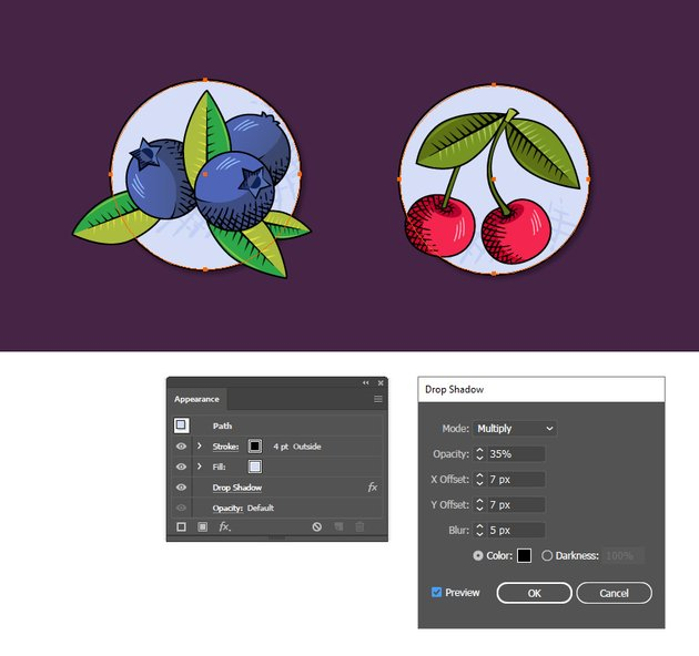 how to create a shadow around fruit badges in Illustrator