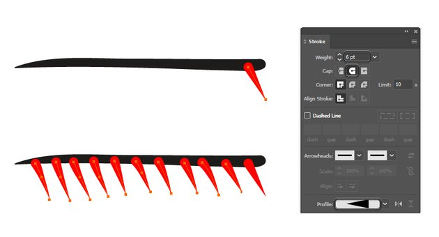 how to create spikes for an art brush in Illustrator