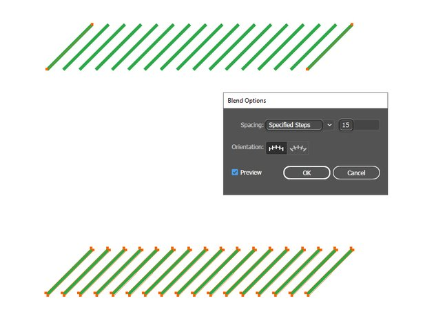 how to blend two stripes in Illustrator